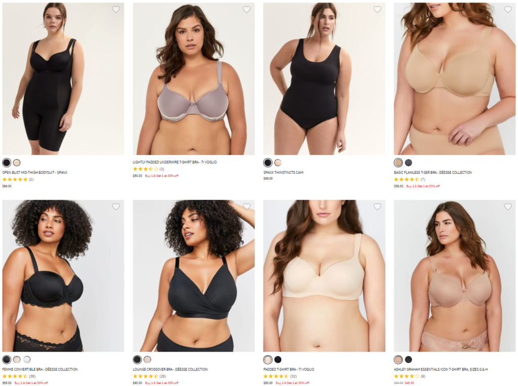 Eight plus-size models are shown in a series of product images from Addition Elle. Two images are of a woman of color. They are all wearing a variety of neutrally-toned bras and panties.