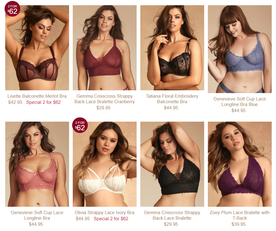 Hips and Curves - alternative to Victoria's Secret for plus sizes. Six plus-size models are shown on tan backgrounds, each wearing a colorful lace bra.