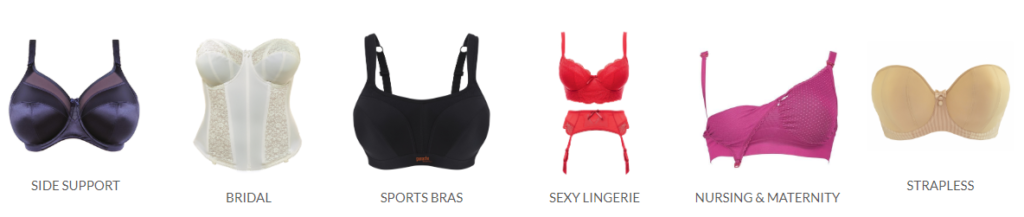 Plus size lingerie company Hourglass Lingerie. Six types of underwear are shown on a white background: a dark purple bra, a white bustier, a black sports bra, a red longline bra and garter belt set, a pink nursing bra, and a tan strapless bra.