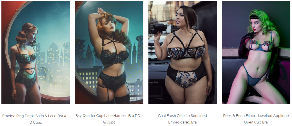 Playful Promises lingerie. Four models, ranging from very thin to plus size, are shown in product images on a variety of dark urban backdrops. All are wearing strappy, lacy bra and panty sets.