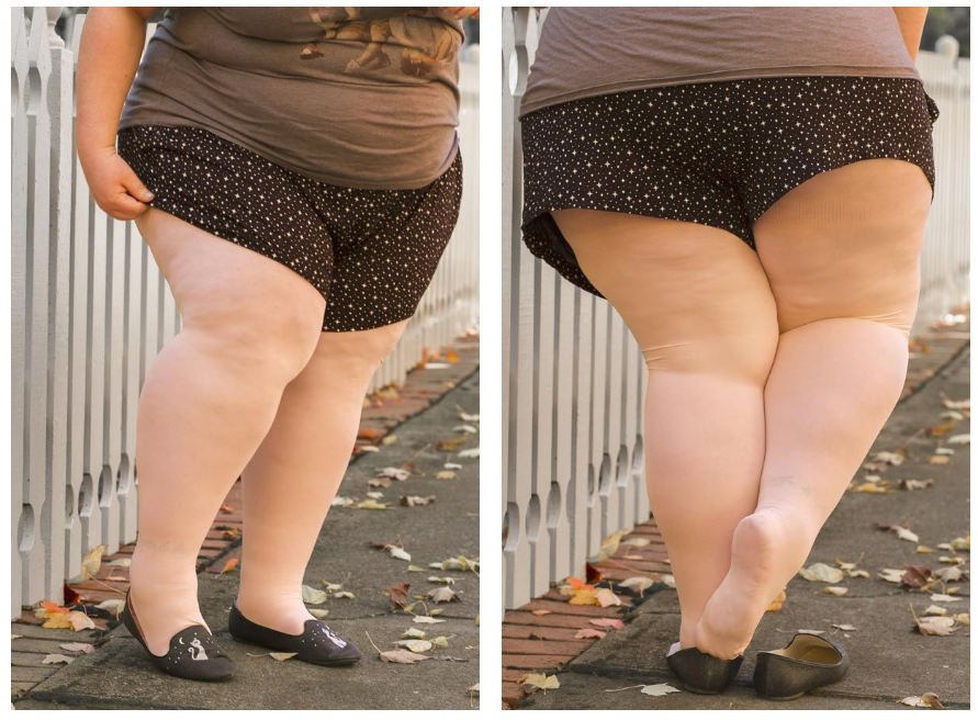 Sock Dreams - alternative to Victoria's Secret for plus size lingerie. A fat person with pale skin is shown from the waist down in two views. They are wearing a T-shirt, black polka dot shorts, white tights, and black shoes with a cat design, and standing on a sidewalk with a white fence.