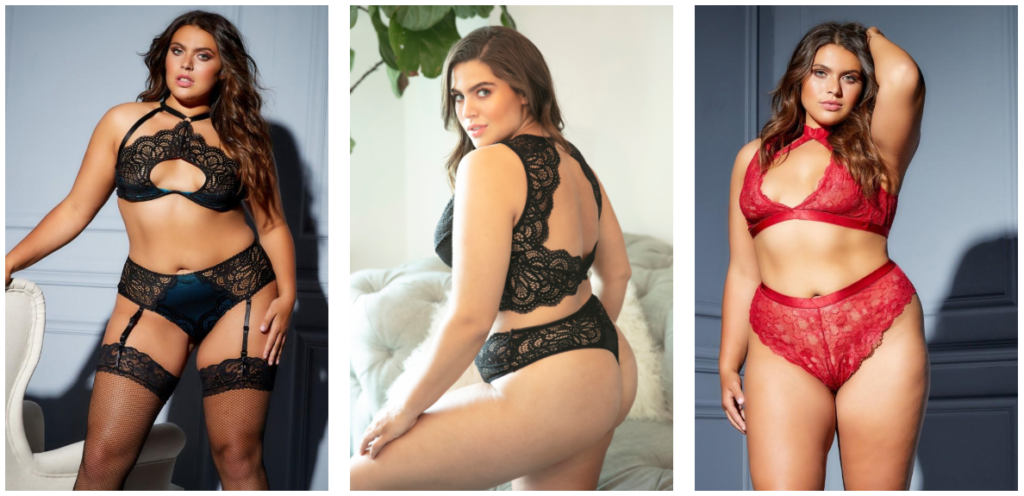 A woman with light brown skin and brown hair is shown in three different images, wearing black or red lace lingerie from Unlucky Lingerie.