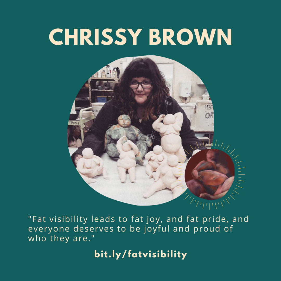 A teal square with a quote from interviewee Chrissy Brown, a photo of her and an image of her art.