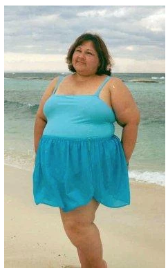 Infinite Swim: Where to Find Swimsuits in Sizes 32+  Swimwear for superfats, infinifats and over size 32 with Love Your Peaches. A woman with light brown skin and shoulder-length brown hair is shown standing on a beach in a light blue swimsuit made of a tank top and skirt.