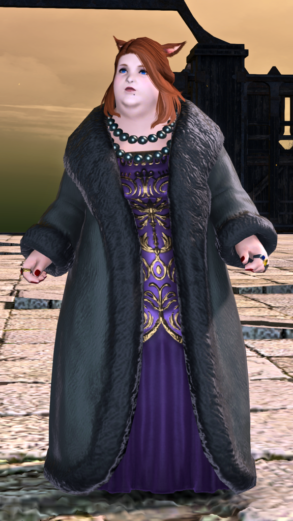 A character from the MMO Final Fantasy XIV, Dulia-Chai, is shown standing on a stone plaza in front of a sunset-silhouetted building. She is fat and pale-skinned, has red hair and cat ears, and is wearing court clothing of a purple and gold full-length dress, black pearls, and black fur coat.