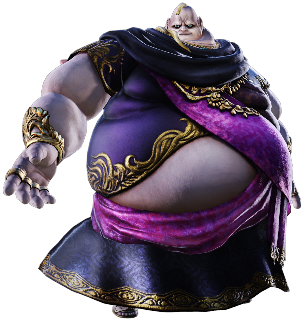 A character from the MMO Final Fantasy XIV, Lord Vauthry, is shown standing on a white background. He is a fat man with pale skin, wearing a purple and black robe with gold accoutrements. A face with glowing eyes is positioned in one armpit.