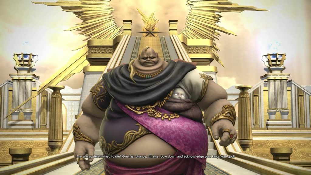 A character from the MMO Final Fantasy XIV, Lord Vauthry, is shown standing in front of a gold ziggurat. He is a fat man with pale skin, wearing a purple and black robe with gold accoutrements. A face with glowing eyes is positioned in one armpit.
