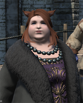 A character from the MMO Final Fantasy XIV, Dulia-Chai, is shown standing in front of a stone wall outdoors. She is fat and pale-skinned, has red hair and cat ears, and is wearing court clothing of a purple and gold full-length dress, black pearls, and black fur coat.