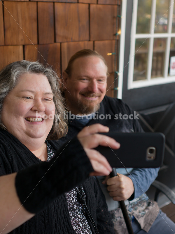 Body Positive Microstock Image: Older Couple Taking Selfies with Phone - Body Liberation Photos