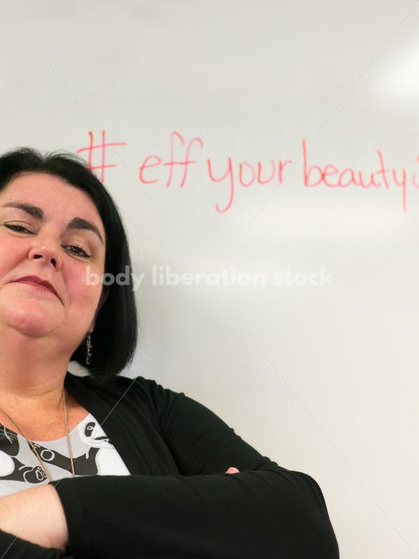 Body Positive Stock Image: Plus Size Teacher with the words #effyourbeautystandards - Body Liberation Photos