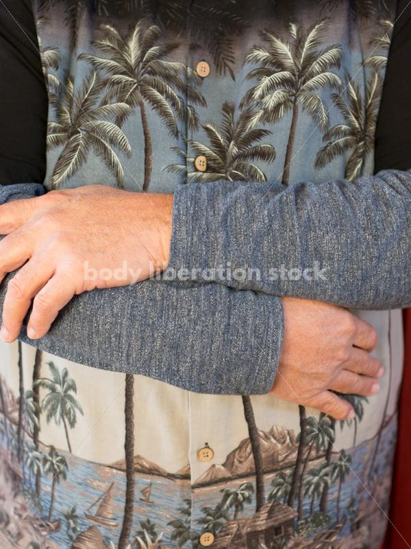 Body Positive Stock Photo: Plus Size Man Self Love Hug - Body Liberation Photos