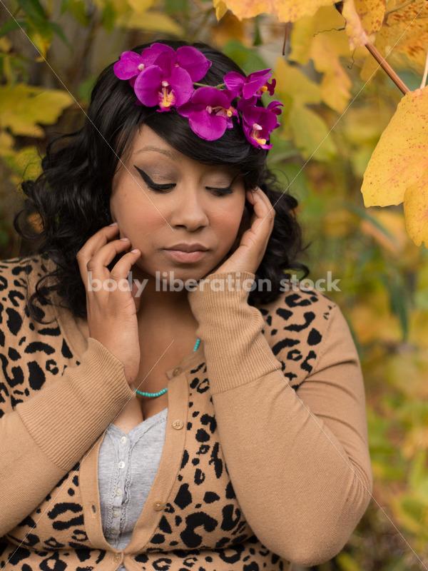 Body Positive Stock Photo: Young African American Woman in Garden - Body Liberation Photos