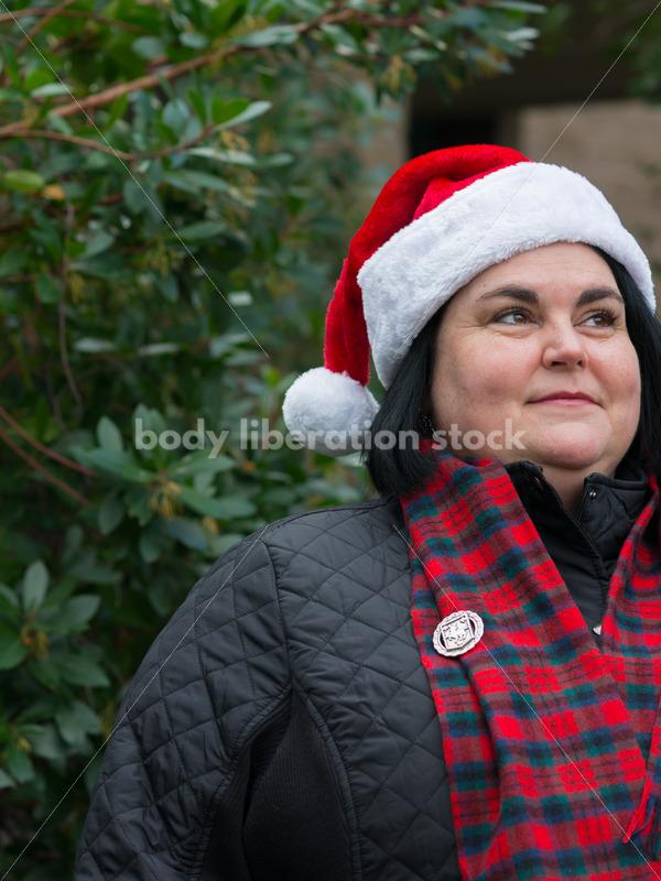 Christmas Stock Photo: Plus Size Teacher in Santa Hat - Body Liberation Photos