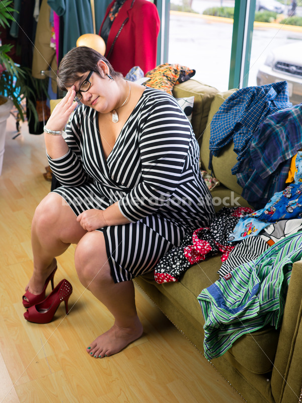 Clothing Retail Stock Photo: Plus Size Woman Frustrated by Shoes that Don't Fit - Body Liberation Photos