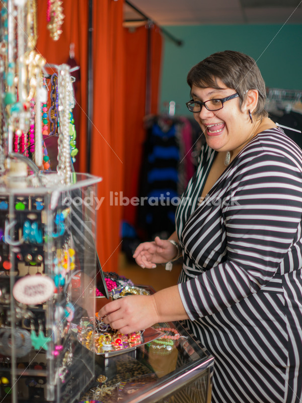 Clothing Retail Stock Photo: Plus Size Woman Shops for Accessories - Body Liberation Photos