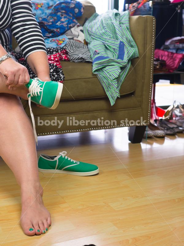 Clothing Retail Stock Photo: Plus Size Woman Tries  on Shoes - Body Liberation Photos