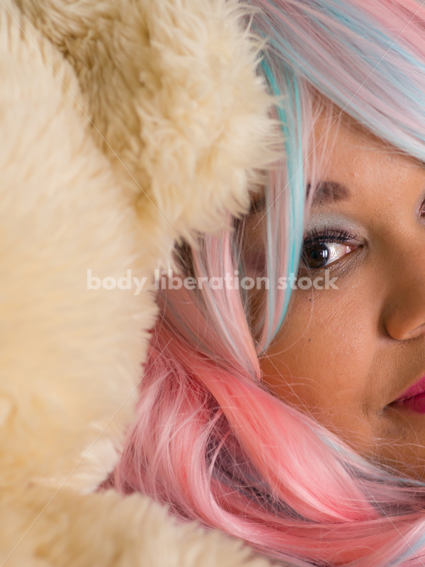 Cosplay Stock Photo: Peaceful Plus Size Lolita with Teddy Bear - Body Liberation Photos