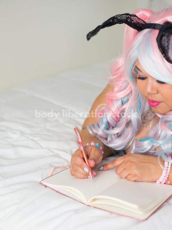 Cosplay Stock Photo: Plus Size Lolita Writing in Journal - Body Liberation Photos