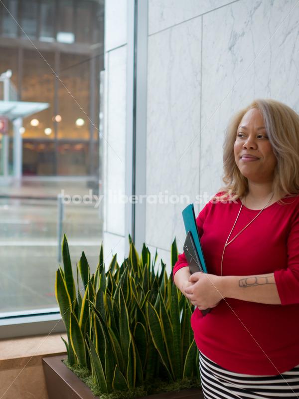 Diverse Workplace Stock Image: Plus Size Black Lesbian Businesswoman - Body Liberation Photos