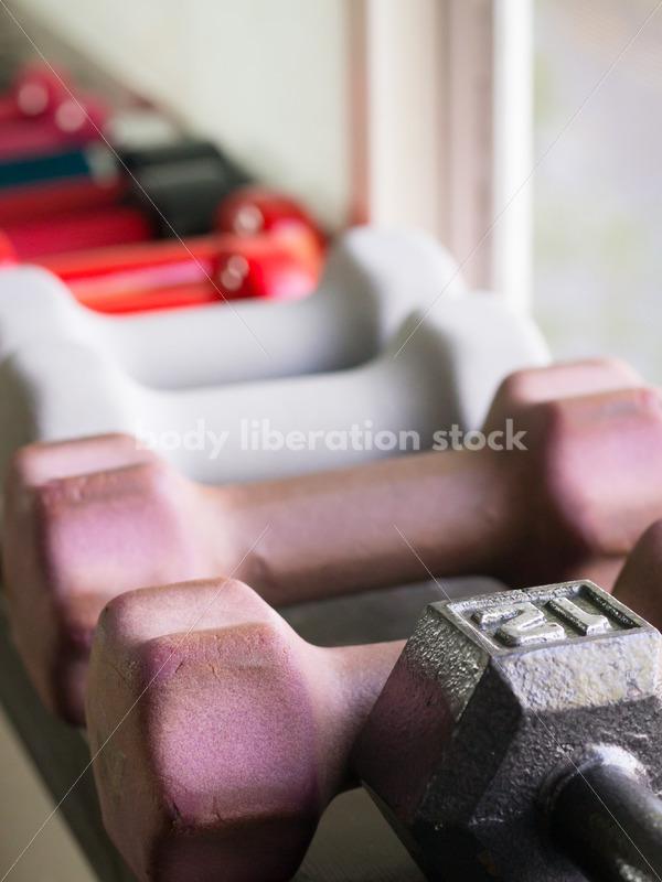 HAES Stock Photo: Hand Weights on Gym Windowsill - Body Liberation Photos