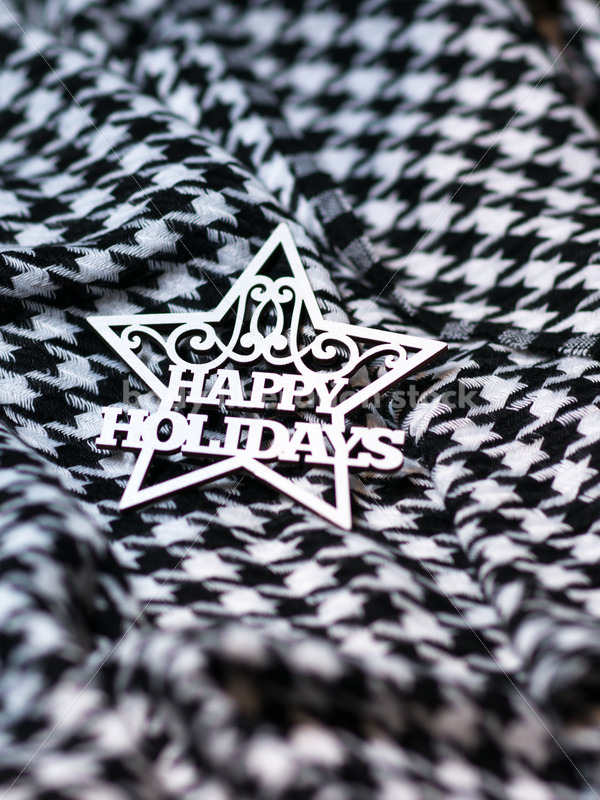 Holiday Stock Photo: Happy Holidays on Houndstooth Scarf - Body Liberation Photos