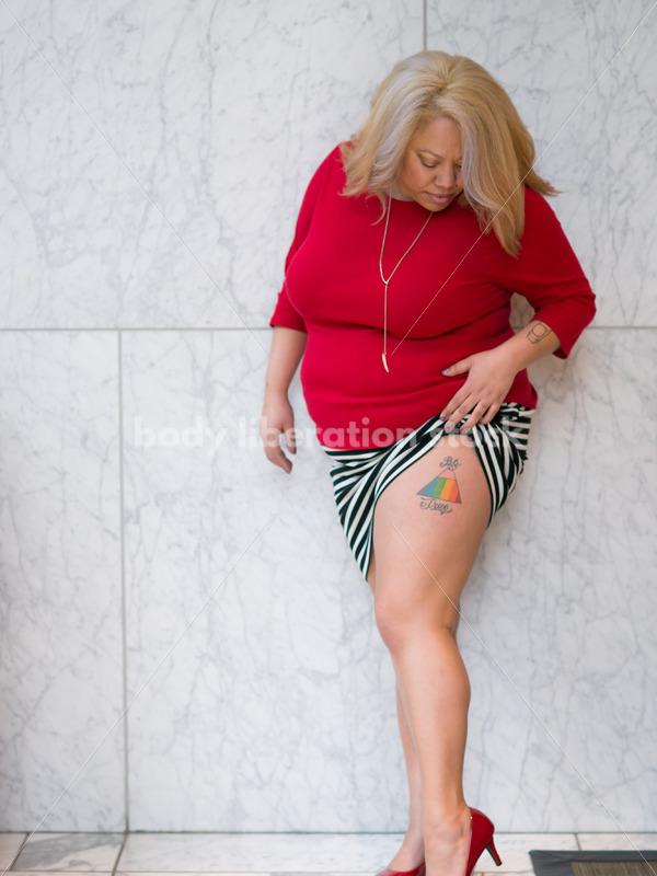 Human Rights & LGBT Stock Photo: Black Lesbian Woman with Rainbow LGBT Tattoo - Body Liberation Photos