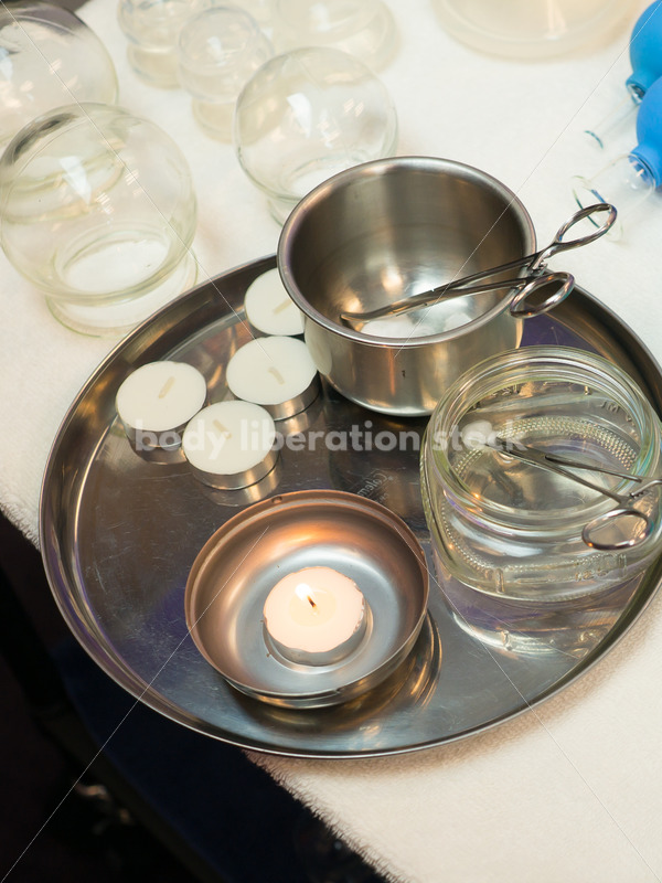 Immigration and Small Business Stock Image: Cupping Supplies in Massage Therapy Office - Body Liberation Photos