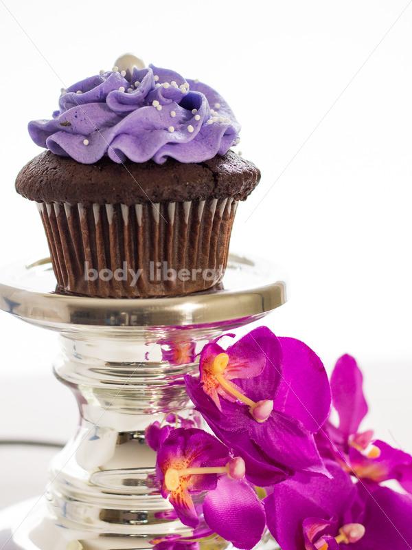 Intuitive Eating Stock Photo: Cupcake on Silver Pedestal - Body Liberation Photos