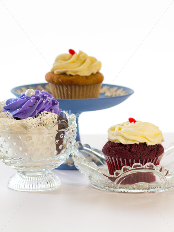 Intuitive Eating Stock Photo: Cupcakes on Special Occasion Serving Dishes - Body Liberation Photos