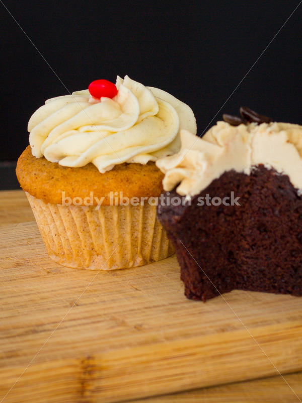 Intuitive Eating Stock Photo: Cupcakes on Wooden Cutting Board - Body Liberation Photos