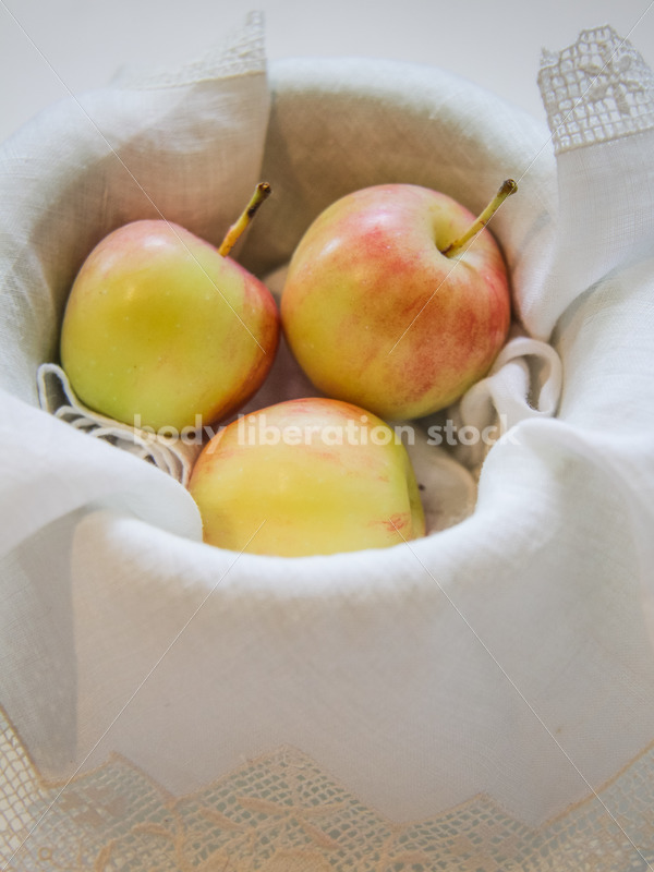 Intuitive Eating Stock Photo: Fresh-Picked Apples in Vintage Dish - Body Liberation Photos