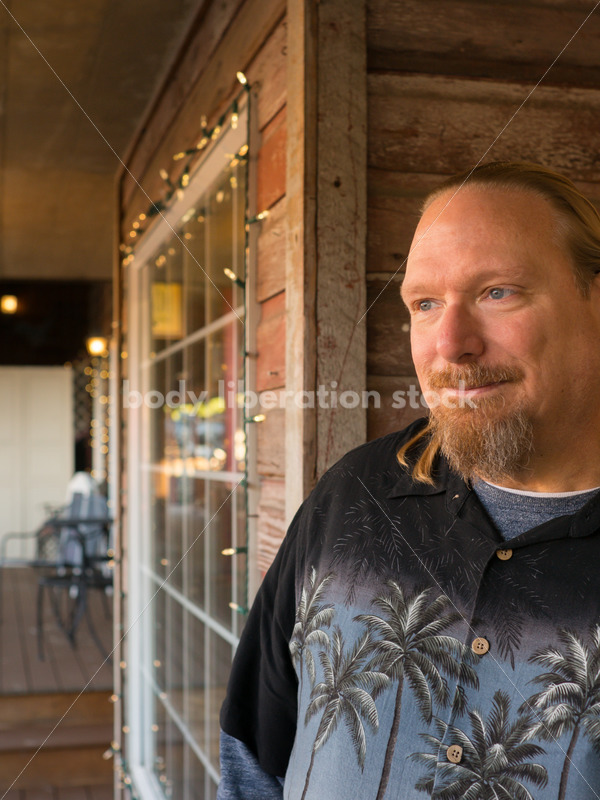 Plus Size Stock Photo: Man in 50s with Rustic Wood Walls - Body Liberation Photos