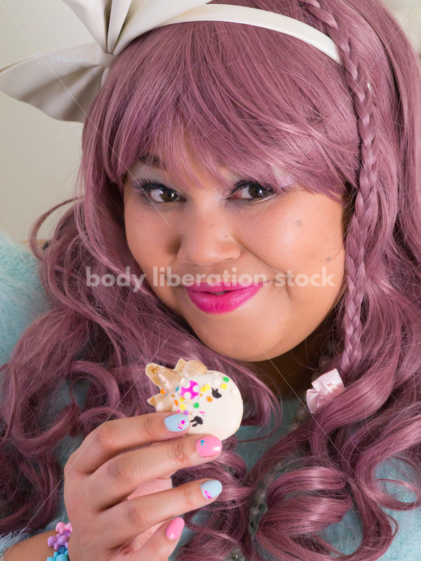 Plus Size Woman in Lolita Outfit with Sweet Treat - Body Liberation Photos