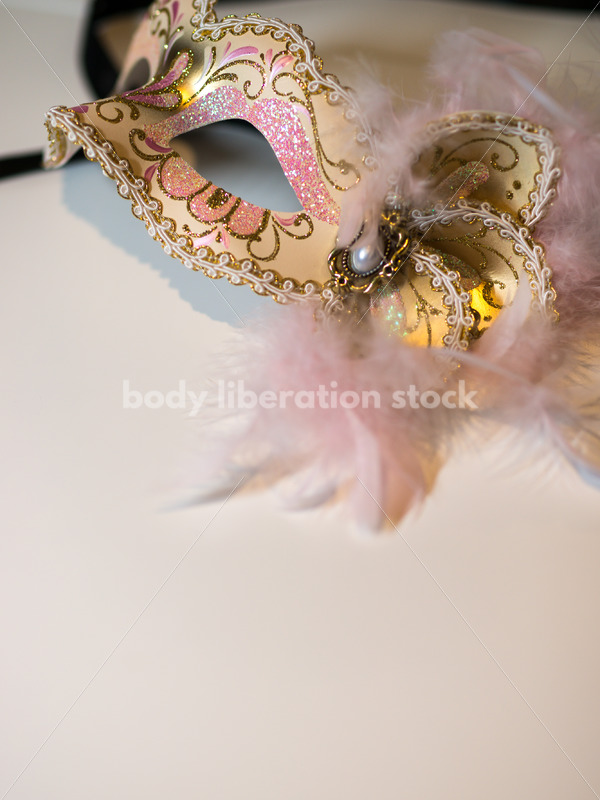 Romance Stock Image: Pink and Gold Venetian Mask - Body Liberation Photos