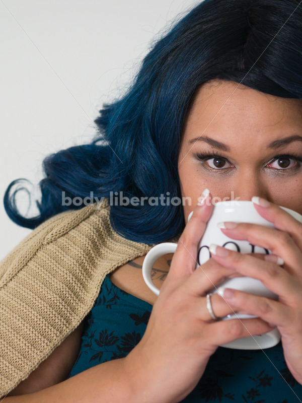 Royalty Free Stock Photo: Black Woman with Coffee Cup - Body Liberation Photos