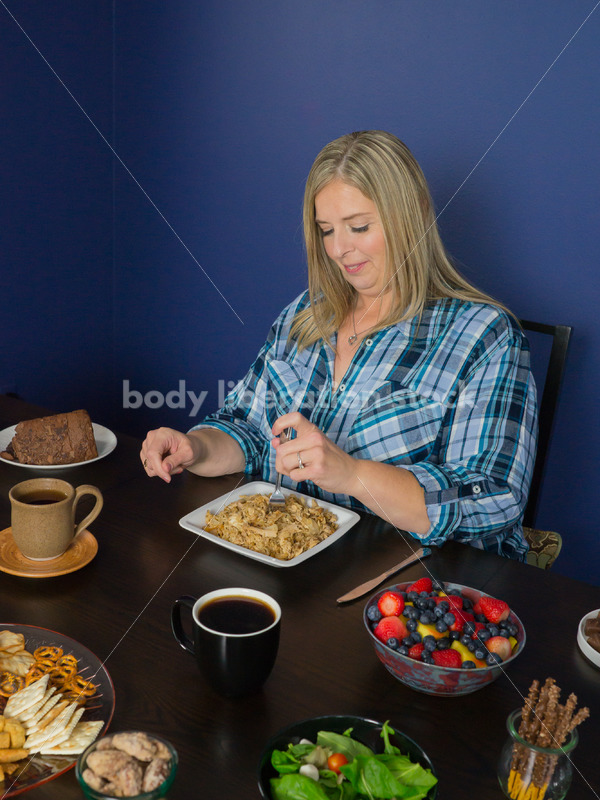 Royalty Free Stock Photo for Intuitive Eating: Plus Size Woman Eats Food, Nothing Bad Happens - Body Liberation Photos