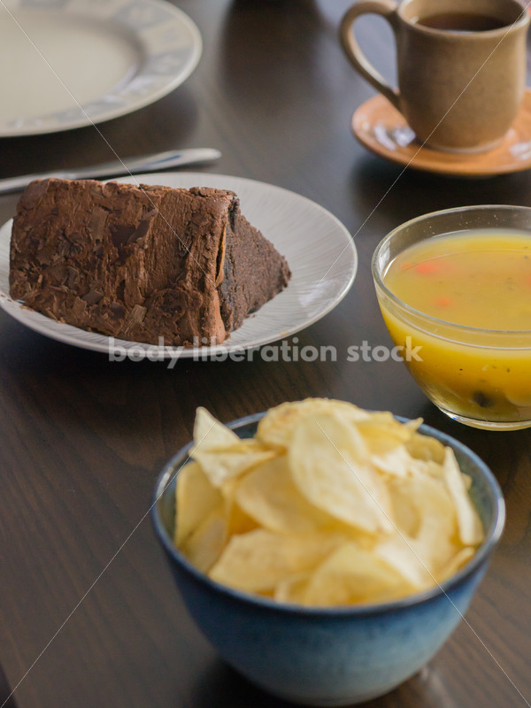 Royalty Free Stock Photo for Intuitive Eating: Variety of Foods on Dining Table - Body Liberation Photos