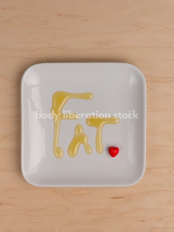 Stock Photo: Diet Recovery Concept FAT Spelled Out on Plate with Heart - Body Liberation Photos