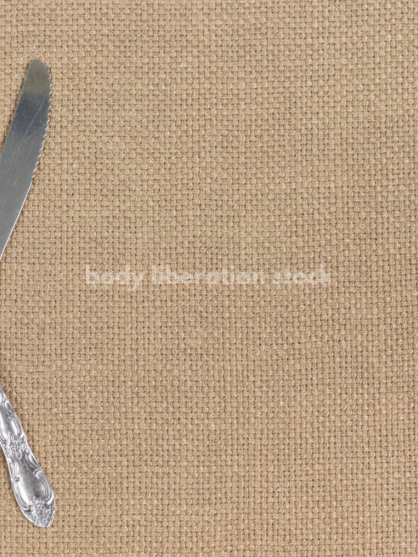 Stock Photo: Diet Recovery Concept Fork and Knife on Burlap - Body Liberation Photos
