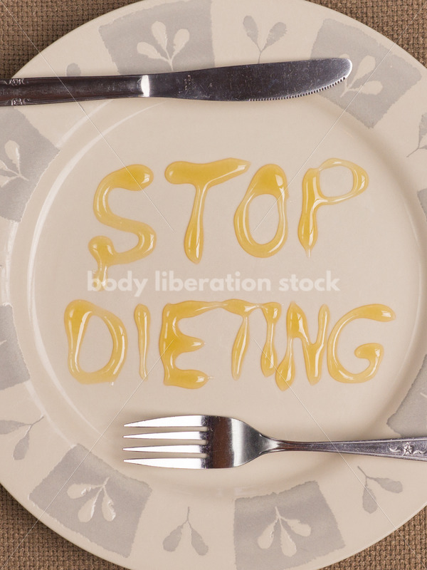 Stock Photo: Diet Recovery Concept STOP DIETING Spelled Out on Plate - Body Liberation Photos