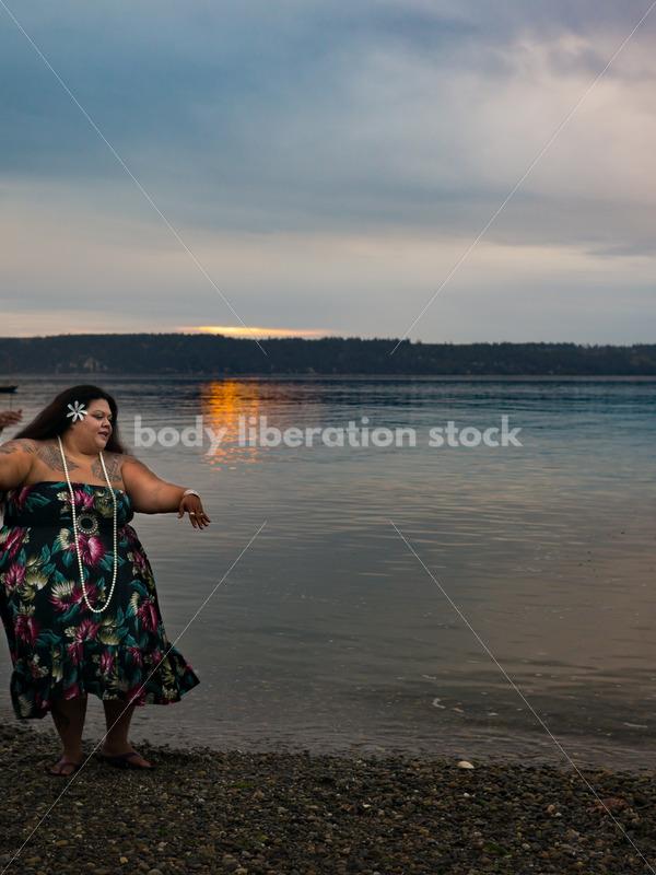 Stock Photo: Joyful Movement Pacific Islander Woman Hula Dancing on Beach at Sunset - Body Liberation Photos