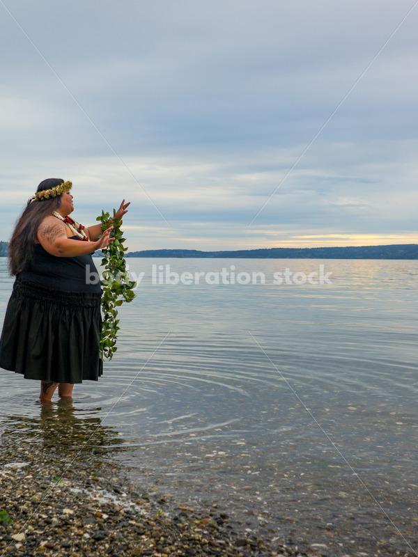 Stock Photo: Joyful Movement Pacific Islander Woman Hula Dancing on Beach at Twilight - Body Liberation Photos