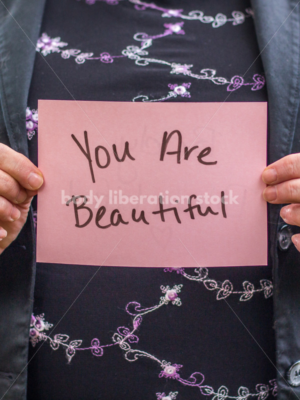 Stock Photo: Older Woman Holding You Are Beautiful Sign - Body Liberation Photos
