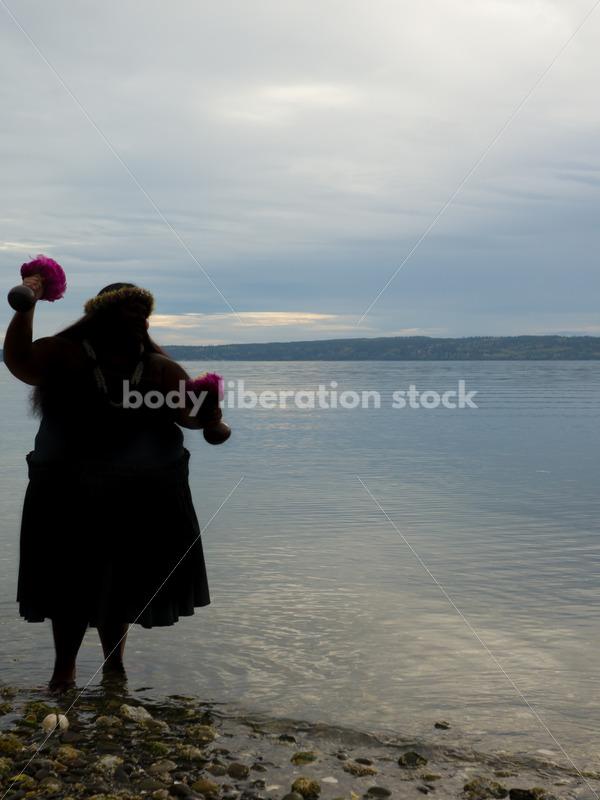Stock Photo: Pacific Islander Woman Hula Dancing on Evening Pebbled Beach - Body Liberation Photos