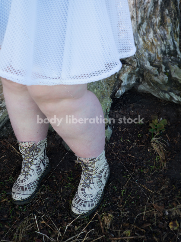 Stock Photo: Plus Size Woman in White Skirt and Music Note Boots - Body Liberation Photos