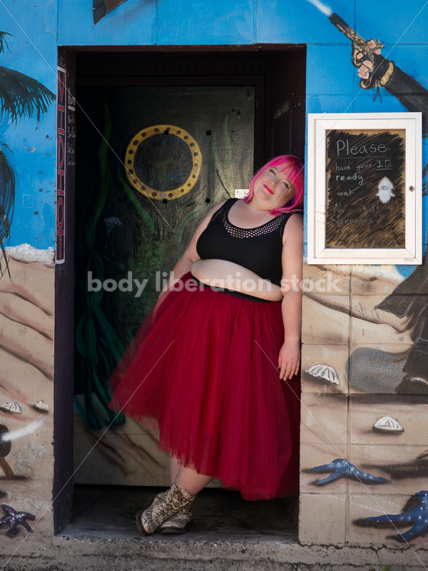 Stock Photo: Plus Size Woman with Pink Hair Standing in Tutu with Mural - Body Liberation Photos