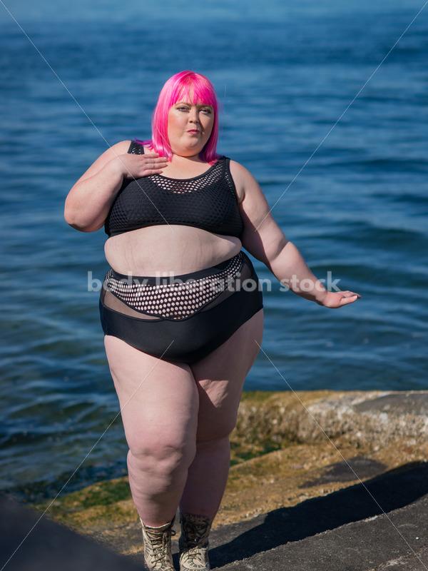 Stock Photo: Plus Size Woman with Pink Hair in Bikini near Water - Body Liberation Photos