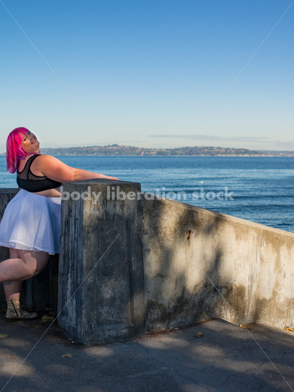 Stock Photo: Plus Size Woman with Pink Hair on Waterfront - Body Liberation Photos