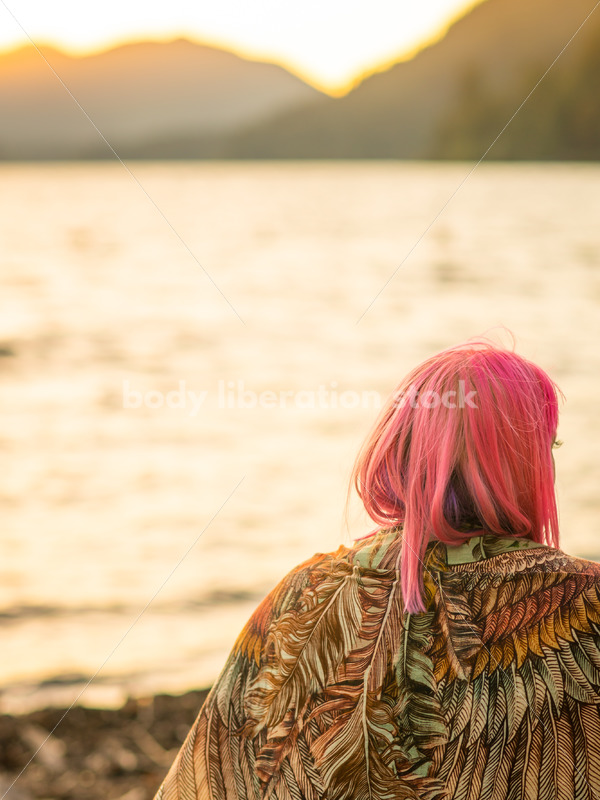 Stock Photo: Plus Size Woman with Scarf on Sunset Lake Shore - Body Liberation Photos