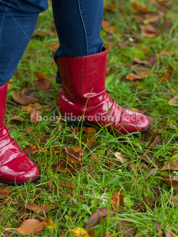 Stock Photo: Red Rain Boots on Wet Grass - Body Liberation Photos